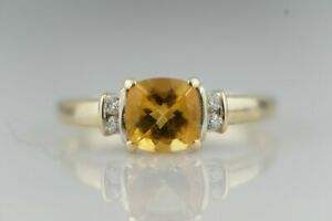 Dazzeling Golden Citrine and Diamond Ring 9ct