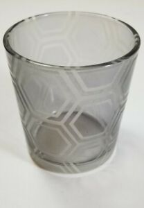 Yankee Candle HEXAGON CLEAR - GRAY SANDBLAST Glass Votive Holder NEW with Tags