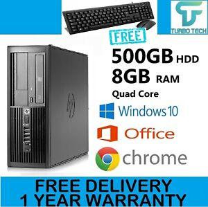 FAST HP QUAD CORE PC COMPUTER DESKTOP TOWER WINDOWS 10 WI-FI 8GB RAM 500GB HDD