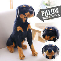 Simulation Doberman Pinscher Dog Plush Toy Realistic Stuffed Animal Kids Gift