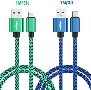 USB Type C Cable 1m Multi-Pack Fast Charging Data Sync Lead for S20/S10+/ S10
