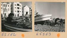 NAZARÉ - 2 Photos Bateaux Pêcheurs sur la Plage Portugal - Pl 1256