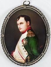 Napoleon Bonaparte Hand Painted Miniature Portrait in 800 Silver Filigree Frame
