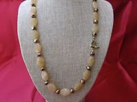 Beautiful handmade golden Czech glass bead necklace w/brass toggle clasp 21 inch