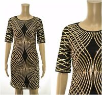 eX Monsoon Sequin Shift Mini Dress Party Occasion Races Black Gold