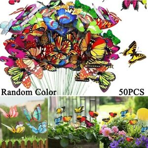 24/50P Colourful Butterfly Butterflies Garden Decoration Ornaments Stakes Patio