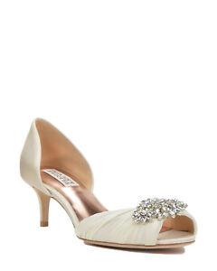 NIB NEW BADGLEY MISCHKA 8.5 IVORY CAITLIN EMBELLISHED SATIN D'ORSAY HEEL WEDDING