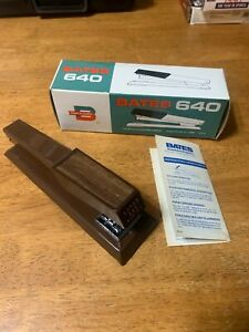 New Vintage Bates 640 Stapler Brown w/ Box Made In USA Very Nice