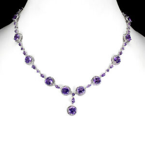 Unheated Round Amethyst 7mm Cz White Gold Plate 925 Sterling Silver Necklace 20