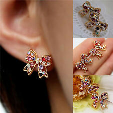 Charming Girl Colorful Crystal Rhinestone Golden Bowknot Charm Stud Earrings