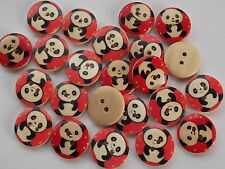 30 x PANDA 2 HOLE WOODEN 18mm SEWING BUTTONS, SCRAPBOOKING, CRAFT ETC.,