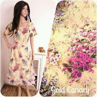 Vintage 1940s 50s Cream Spring Bouquet Floral Midi Dress 40s 12 14 40