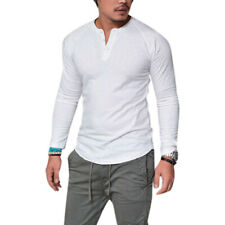Mens Plain Muscle Tee Long Sleeve V Neck T-Shirt Casual Top Blouse Henley Shirts