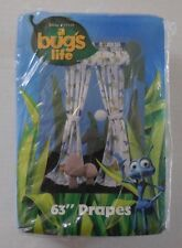 "Disney Pixar a bug's life 63"" Rod Pocket Drapes Fit Up to 48"" Window 1 Pair New"