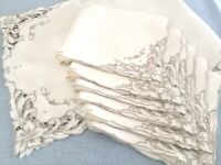 CUTWORK NAPKINS & RUNNER SET Natural Color Linen Flower Scrolls Set of 7