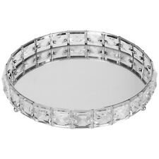 Round Mirror Diamante Jewel Tray Plate Jewelled Candle Plate Tray 20 Cm