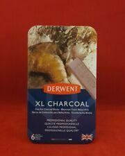 Derwent XL Charcoal Tin of 6 Shades - Chunky Fine Art Charcoal Blocks