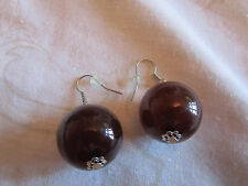 "Chunky Dark Brown Plastic Sphere Drop Earrings - 1.75"" long"