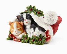 Lenox 2016 Annual CAT Figurine Christmas Cat Nap Kittens in Santa Hat NEW IN BOX