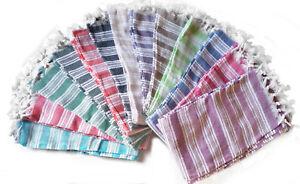 SET OF 6 TURKISH TOWEL PESHTEMAL FOUTAS 100% COTTON SPA GYM BATH BEACH TOWELS