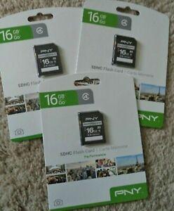 3 PNY SD CARD 16 GB Performance Class 4 SD Card P-SDHC16G4H-GE FLASH CAMERA