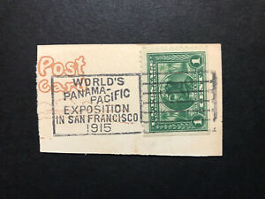 GandG US Stamps #397 Panama Pacific 1c with Expo Cancel on Piece Used