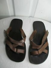 DSQUARED2 BROWN LEATHER STRAPPY FLAT SANDALS 41 US 10.5 MADE IN ITALY