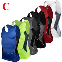 Mens Compression Vest T Shirt Top Tank Breathable Sports Running Training Gym