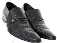 Moretti Black Stamped Leather Slip-On Braided Strap Dress Loafer Men's US 9