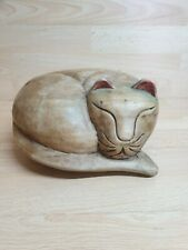 SOLID Wood CARVED SLEEPING KITTY Cat Heavy Ornament