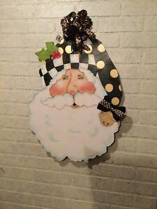My Santa Doorhanger With Mackenzie Childs Ribbon