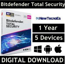 BITDEFENDER Total Security 2020 5 Devices 1 Year  VPN - (Key - Activation code)