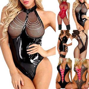 Sexy Lingerie Women PVC Faux Leather Shiny Wet Look Bodysuit Underwear Sleepwear