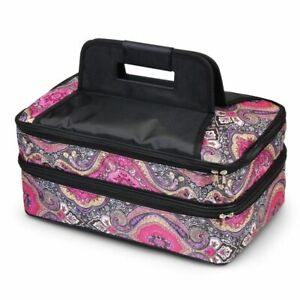 Double Casserole Insulated Hot Cold Dishes Carrier Carry Bag - Purple Paisley