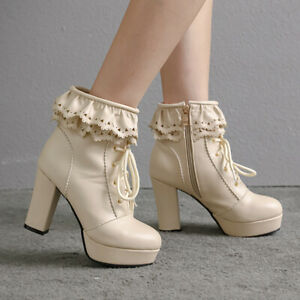 Women's Platform Boots Leather Lace Up Zip Combat Chunky Heeled Ankle Booties
