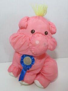 Fisher Price Barnyard Puffalumps Pink Pig Puffalump blue ribbon 1997 vintage
