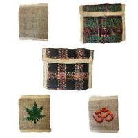 Silk and Hemp Wallet Card Coin Note Section Zip Natural Men Women Purse Hippy