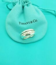 Tiffany & Co Atlas Roman Numeral Silver Wide Band Ring size P1/2 or 8 US RARE