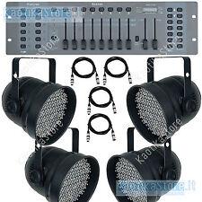 SET 4 FARI PAR-56 DMX tecnologia a LED PAR 56 RGB+centralina+cavi *KaotikaStore*