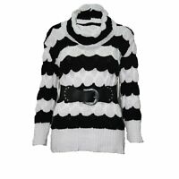 WOMENS LADIES STRIPED BUBBLE KNIT BELT POLO NECK JUMPER KNITTED LONG DRESS TOPS