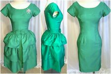 50s Matte Satin Green Sheath Tiered Overskirt 2 piece Party Dress
