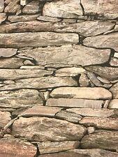 BRAND NEW Vinyl, 3D Warm Beige Shades Natural slate/Brick Wallpaper