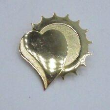 Heart Metallic Shiny Metal Vintage Chic Gold Tone Statement Pin Brooch Solar Sun