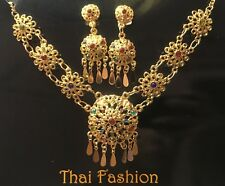 Traditional Jewelry Wedding Necklace Earring Color Stone - Set Thai
