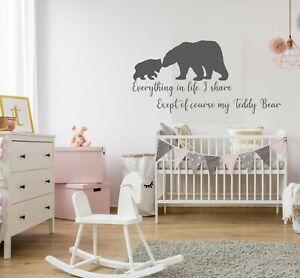 Teddy Bear Baby nursery Children's room wall art Sticker vinyl Decal Home decor
