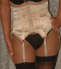 Vintage nude waist cincher corset with garters size M