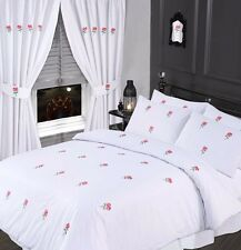 DOUBLE BED SUMMER WHITE & ROSE BLUSH EMBROIDERED FLORAL DUVET COVER BEDDING SET