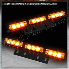 18 LED Amber & Yellow Car Truck Emergency Hazard Warning Flash Strobe Light Bar
