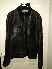 Seven for all Mankind Men's Black Leather Bomber Jacket, Size Large.