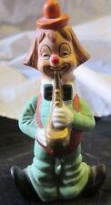 Vintage Clown Playing Saxophone Porcelain Figurine Made in Korea Kitsch